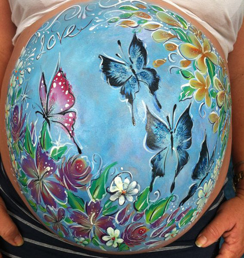 belly-painting-papillons