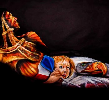 attentats-paris-bodypaint-Angela Rene Roberts, Model - Gina Starr, Title - _Paris, We Are With You_ Photo Cully Firmin